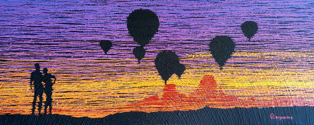 LOVE IS IN THE AIR 24'' x 60'' x 2'' Acrylic paint on wood. (Desert Series)