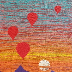 SILENT DESCENT 2, 32 x 48 x 2 Acrylc paint on wood. (Desert Series)