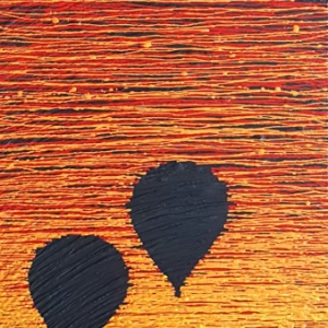 SILENT DESCENT 3, 16 x 48 x 2 Acrylic paint on wood. (Desert Series)